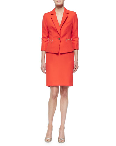 3/4-Sleeve One-Button Zip-Pocket Skirtsuit
