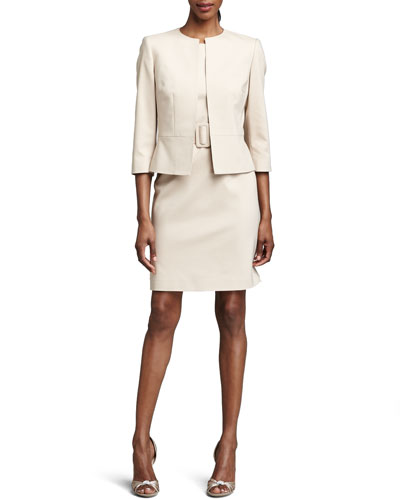Belted Sheath Dress & Jacket Set