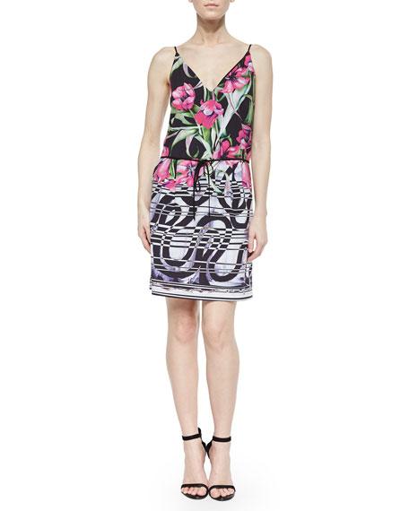 Dancing Tulips Printed Drawstring Dress