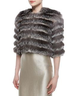 Fox Fur & Scalloped Lace Layered Jacket