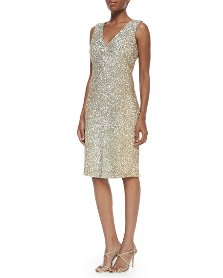 Pamella Roland V-Neck Allover Sequin Dress