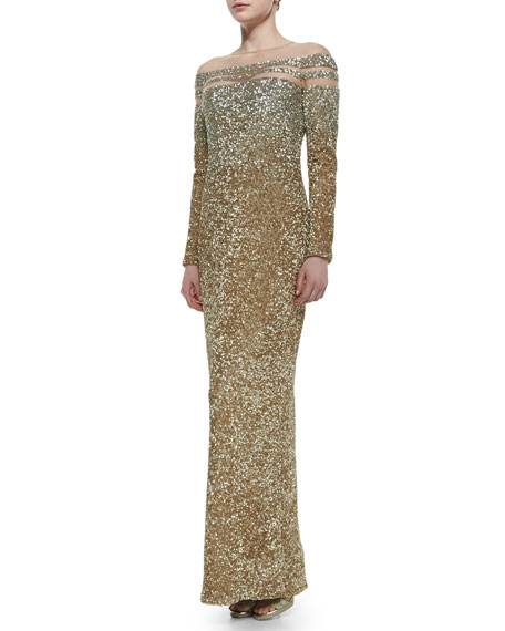 Pamella Roland Sheer-Inset Ombre Sequined Gown