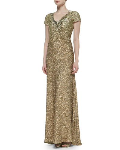 Cap-Sleeve Allover Beaded Gown, Burnished Gold
