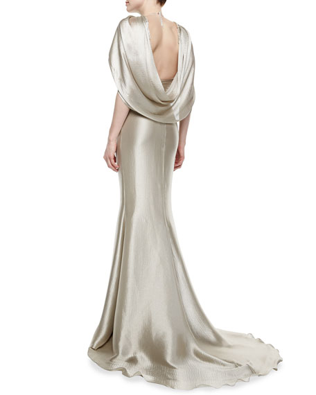 Twisted-Front Draped Lame Gown