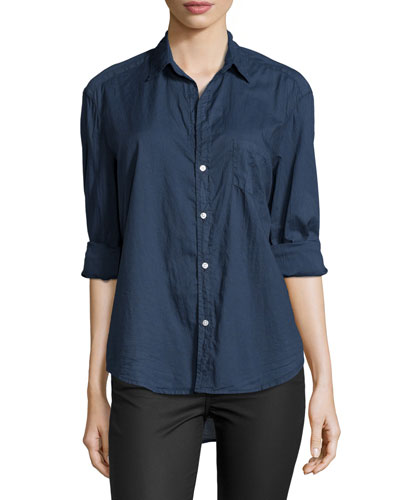 Long-Sleeve Eileen Cotton Shirt, Navy