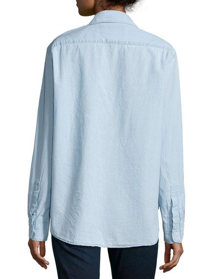 Long-Sleeve Eileen Cotton Shirt, Indigo Denim