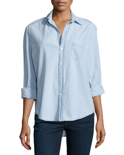 Long-Sleeve Eileen Cotton Shirt, Indigo Denim