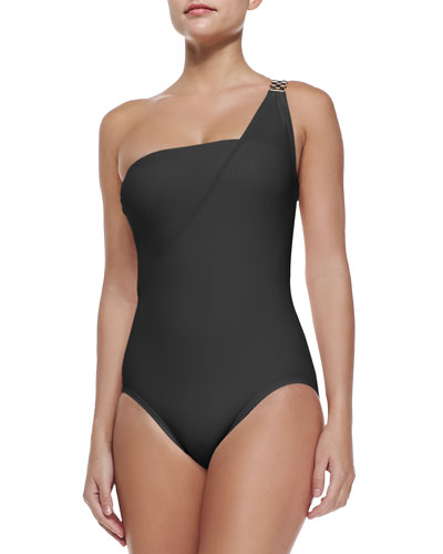 Watch-Band One-Shoulder Swimsuit