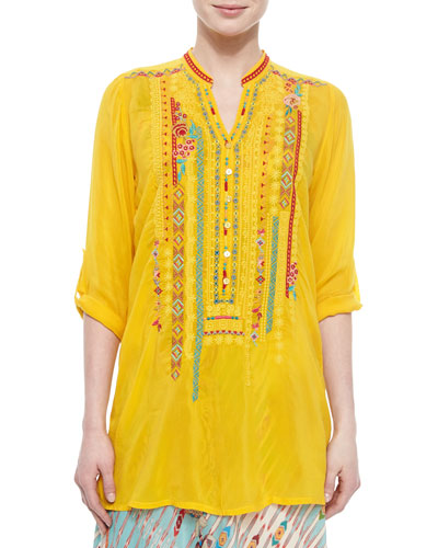 Johnny Was Collection Leanna Embroidered Tunic, Sunshine