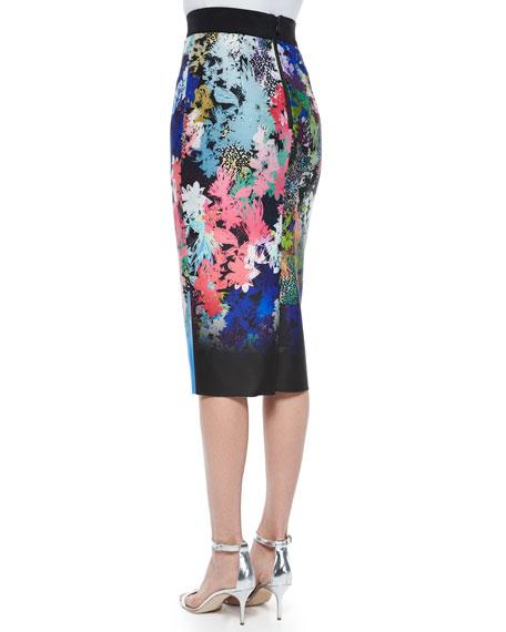 Ombre Floral-Print Midi Pencil Skirt