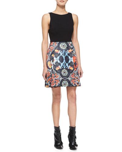 Kourtney Box-Pleat Combo Dress