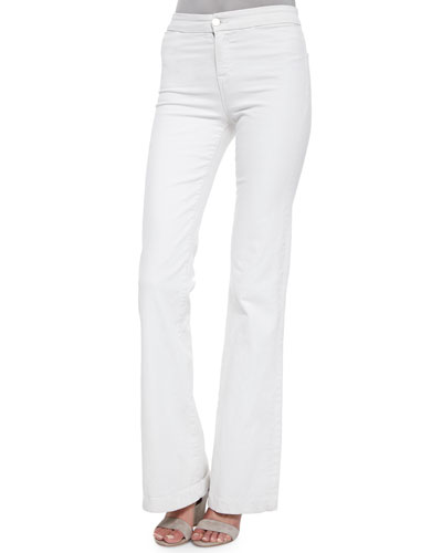 Tailored High-Rise Flare Jeans, Blanc