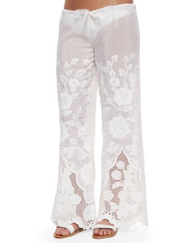 Penelope Eyelet Drawstring Pants, Broderie White