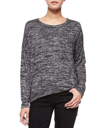 Giada Long-Sleeve Slub-Knit Tee, Black/Heather Gray