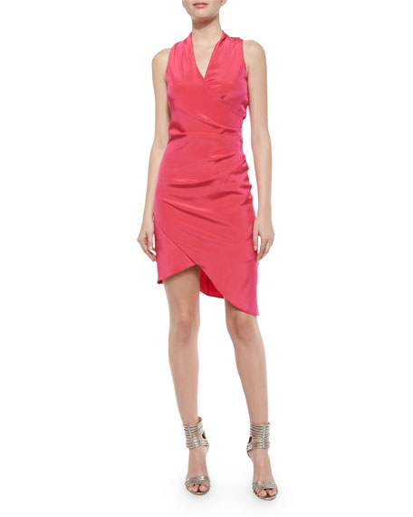 Nicole Miller Stephanie Sleeveless Ruched Asymmetric Cocktail Dress