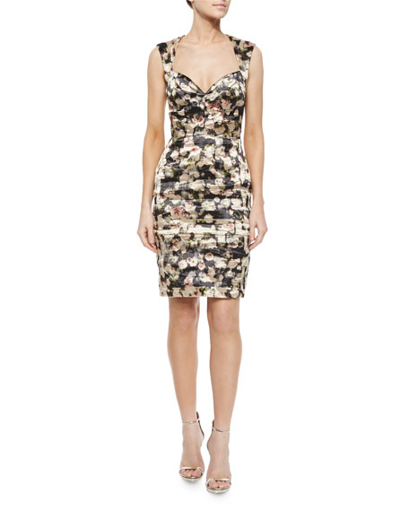 Floral Sweetheart Cocktail Dress, Black/Multicolor