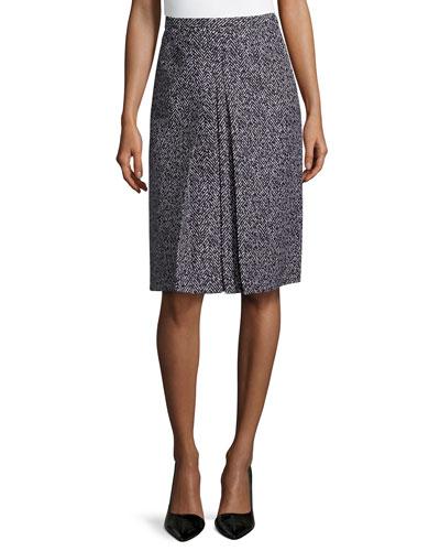 A-Line Center-Pleat Skirt, Black/White