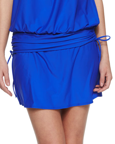 Finesse Solid A-Line Swim Skirt, Deep Blue
