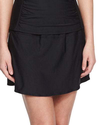 Finesse Solid A-Line Swim Skirt, Black