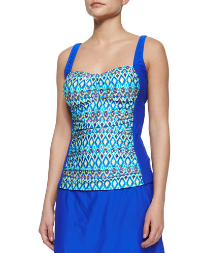 Printed Molded-Cup Tankini Top, Deep Blue