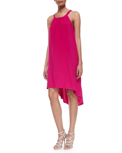 High-Low Shift Dress, Raspberry