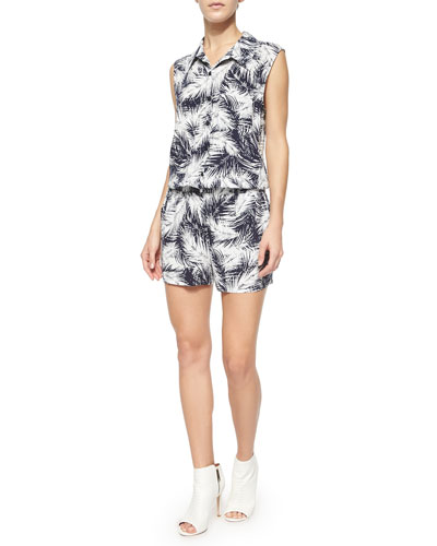 Sleeveless Graphic Romper, Navy/White