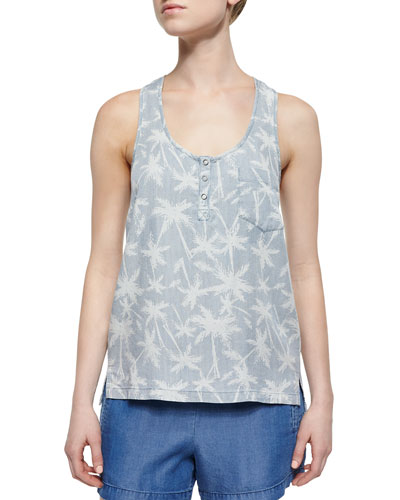 Vented Palm Tree Tank, Light Wash