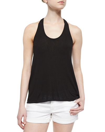 Ruched Racerback Tank, Black