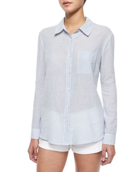 Long-Sleeve Striped Cotton Blouse, Navy/White