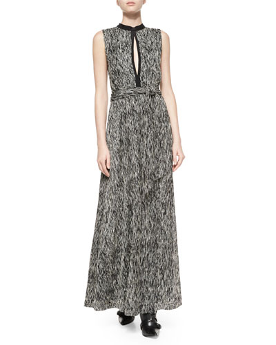 Ramon Mock-Neck Knot-Waist Dress