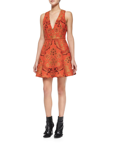 Mollie Brocade Fit-and-Flare Dress