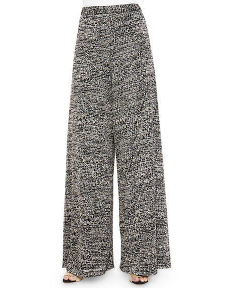 Alice + Olivia Tweed Super-Flared Wide-Leg Pants, Black