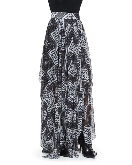 Ryley Diamond-Mosaic-Print Pleated Skirt
