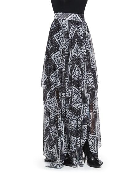 Alice + Olivia Ryley Diamond-Mosaic-Print Pleated Skirt