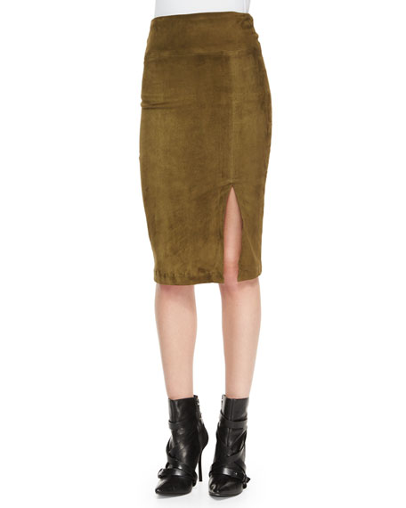 Alice + Olivia Tani Suede Pencil Skirt, Olive