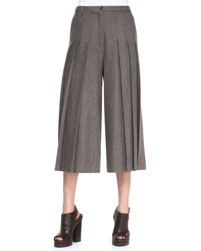 Pleated Cropped Wide-Leg Pants