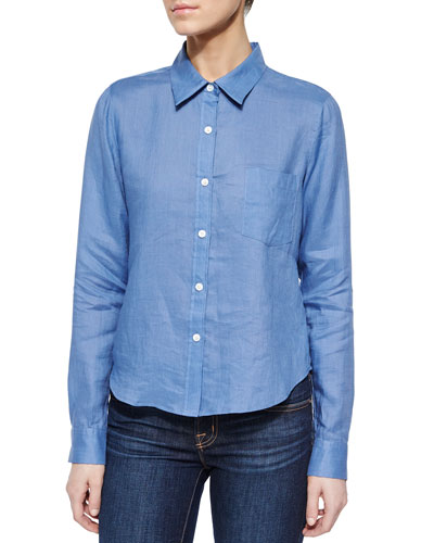 Tianmer Long-Sleeve Blouse, Vintage Blue