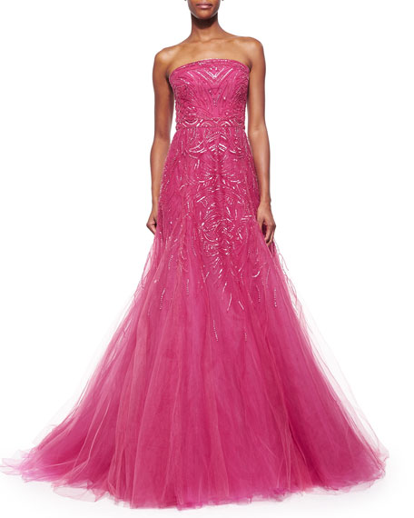 Strapless Graduated Bead-Embroidered Gown