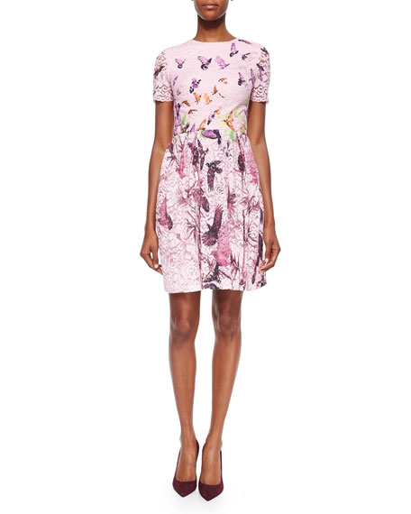Monique Lhuillier Bird-Print Lace Pleated Dress