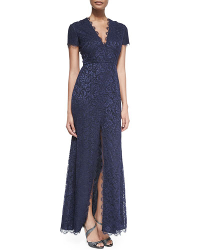 Cap-Sleeve Chantilly Lace Gown