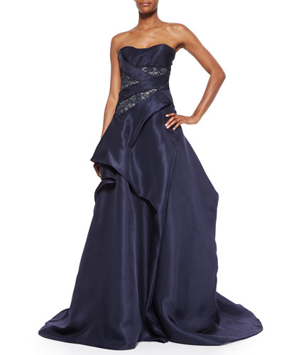 Strapless Lace-Inset Crisscross Draped Gown