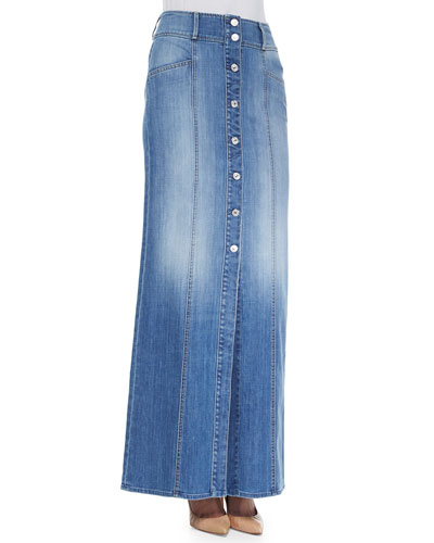 Long Button-Front Denim Skirt, Washed Genuine Blue