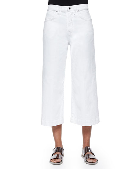 7 For All Mankind Runway Wide-Leg Denim Culottes, Runaway White
