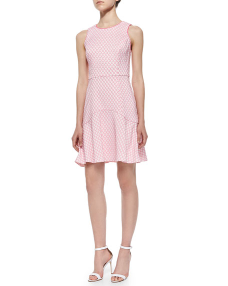 Shoshanna Eden Sleeveless Jacquard Flounce Dress