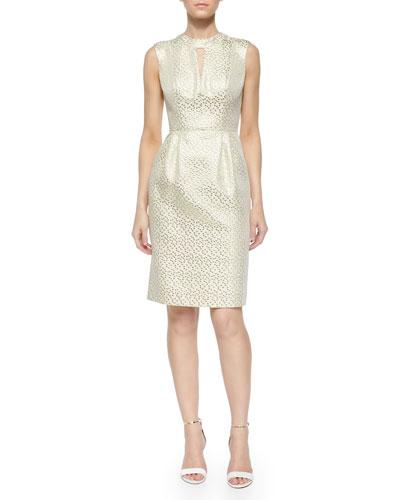Laurie Metallic Jacquard Sheath Dress