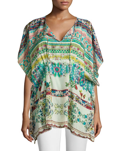 Tied-Neck Printed Silk Poncho, Women's