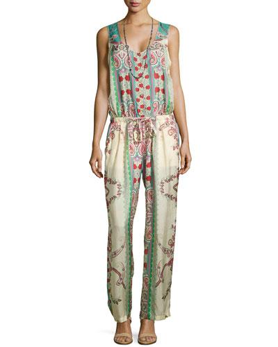 Chettl Sleeveless Printed Georgette Jumpsuit