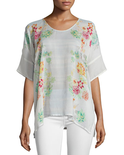 Floral-Print Short-Sleeve Georgette Poncho Top, Women's