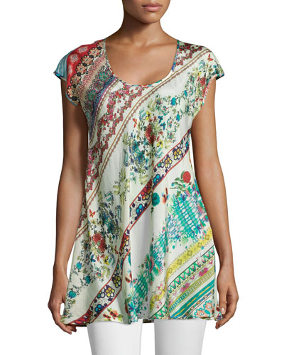 Cap-Sleeve A-line Printed Tunic