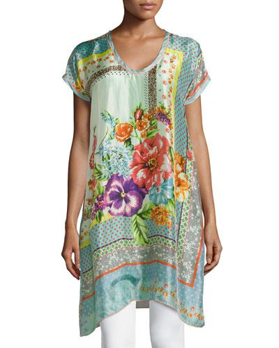 Modisch Printed Silk Long Tunic, Women's